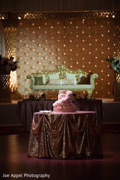 Indian wedding cake in display at the venue
