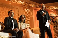 Maharani's father delivering a speech during the reception