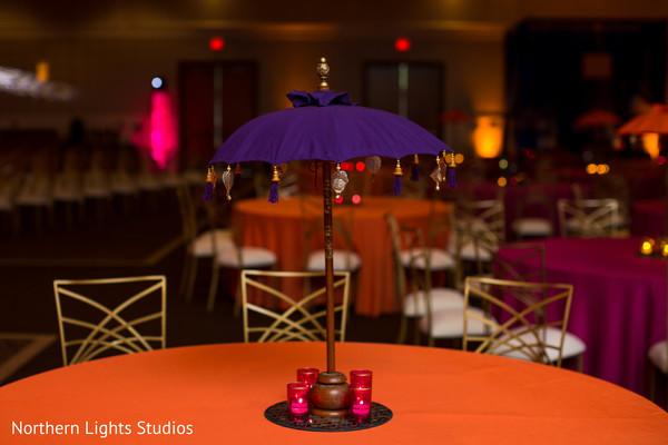 Sangeet umbrella table decoration capture.