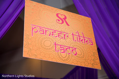 Indian sangeet food sign closeup capture.