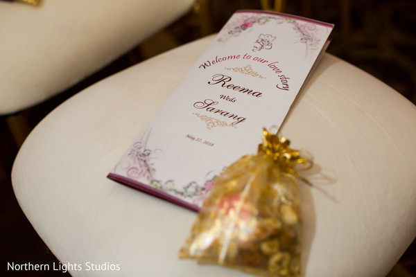 Dreamy Indian wedding ceremony welcome card capture.