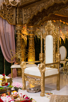 Magnificent Indian wedding ceremony golden seat.