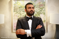 Portrait of the Indian groom before the ceremony
