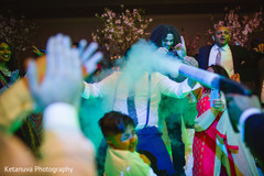 Indian wedding guests have a great time during the reception
