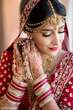 Stunning Indian bride getting ready for the wedding