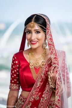 Beautiful Indian bride portrait wearing the sari