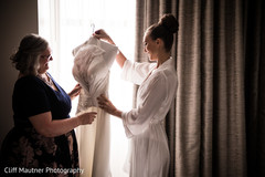 Beautiful maharani observing her wedding dress