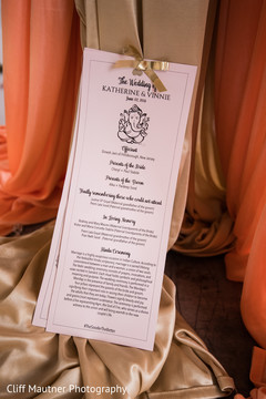 Close up of the Indian wedding guests invitation