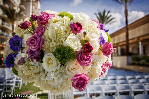 Floral arrangement detail of the Indian wedding decoration
