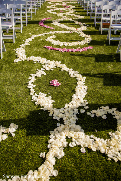 Rose petals carpet waiting for the Indian couple