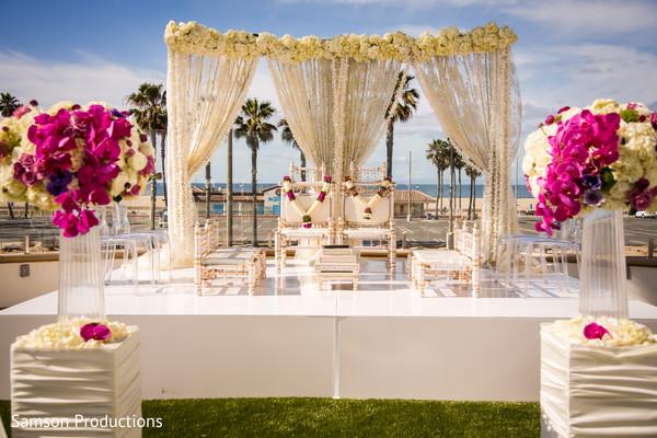 Amazing shot of the outdoors Indian wedding venue decoration