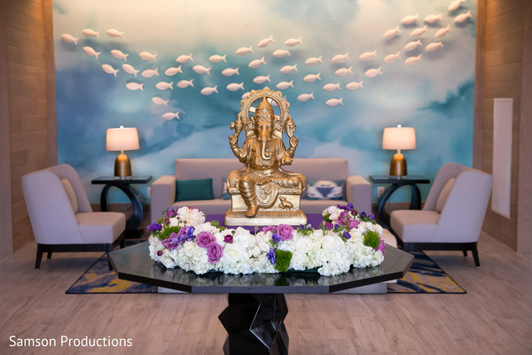 indian wedding,floral arrangement,ganesha,venue