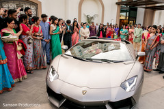 Joyful guests cheer for the Indian newlyweds