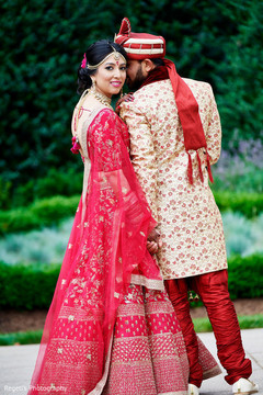 Fabulous red and gold lengha
