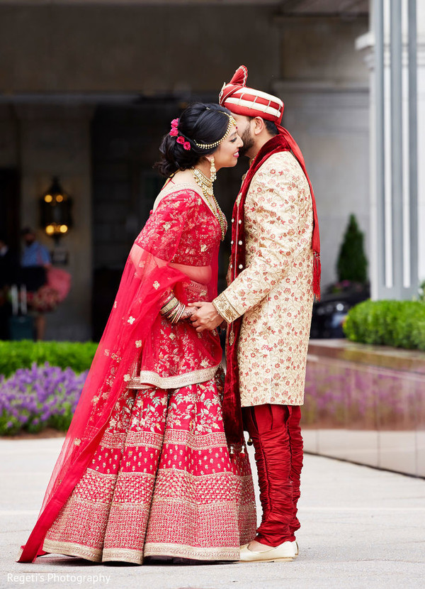 red lengha,golden lengha,indian groom fashion