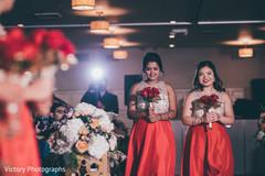 Indian bridesmaids entering the wedding