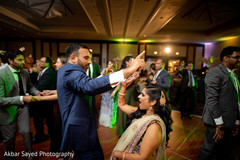 Indian newlyweds enjoying the music at the dance floor