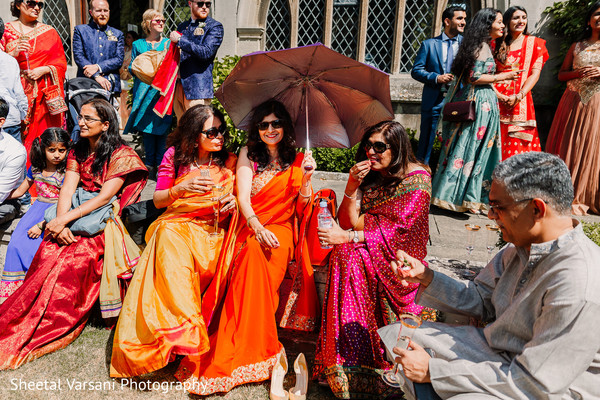Beautiful Indian guests outdoors during the choreography