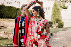 Lovely maharani dancing with her husband outdoors