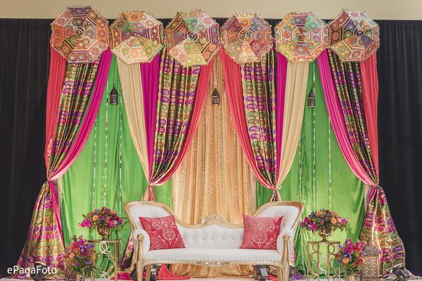 Indian sangeet stage draping decoration.
