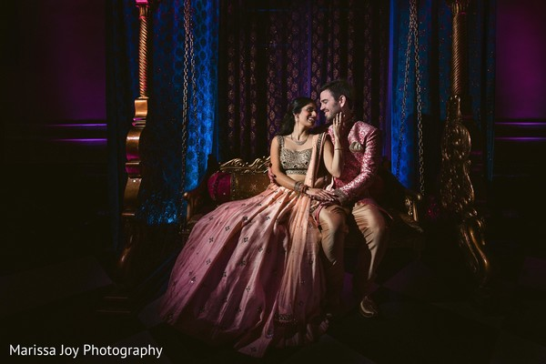 Enchanting shot of the Indian couple wearing the sari and sherwani