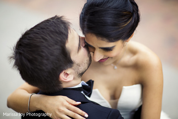 Indian couple have a tender moment during the photo shoot