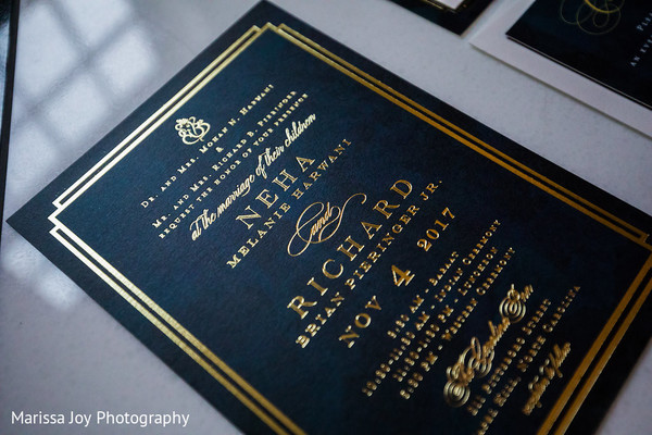 Close up of the beautiful Indian wedding invitations