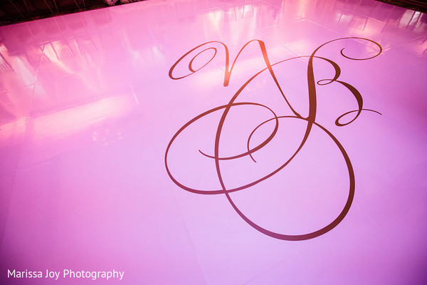 Lovely shot of the Indian newlyweds initials on the dancing floor