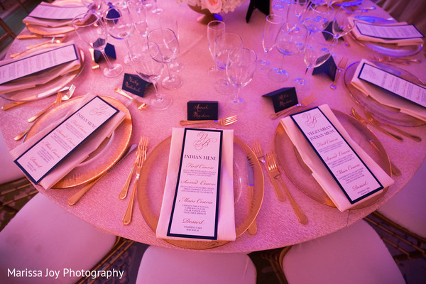 Overview of the table design for the Indian wedding reception