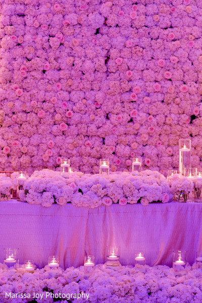 Dazzling shot of the floral decoration of the reception venue