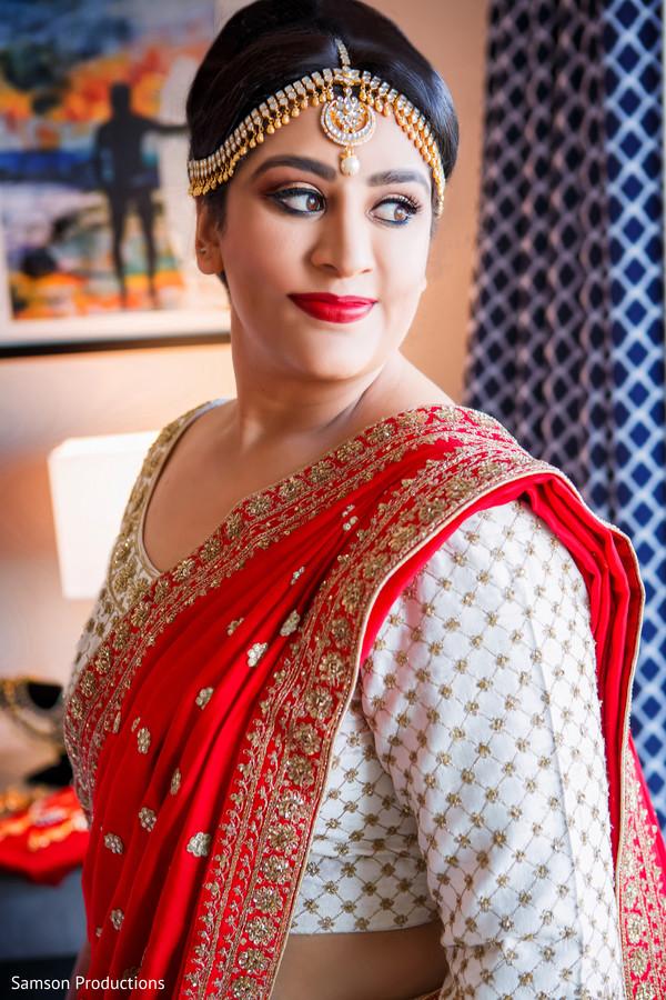 Portrait of Indian bride wearing the beautiful tikka