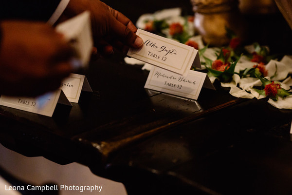 Close up of the Indian wedding sitting cards