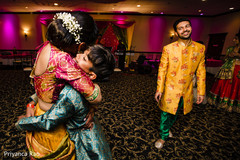 Indian bride and groom at sangeet party.