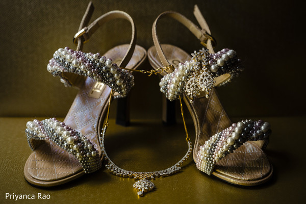 Elegant Indian bridal shoes and jewelry.