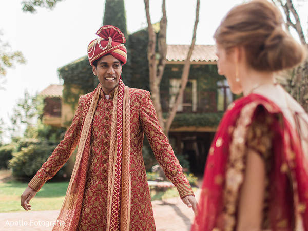 Indian bride admiring her soon to be husband