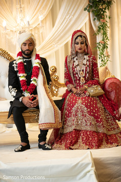 Indian bride and groom at their ceremony
