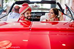 Indian newlyweds leaving wedding ceremony