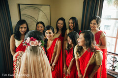Indian bride having a first look with her bridesmaids
