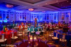 Colorful sangeet tables decoration.