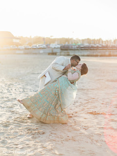 By the beach Indian bride and groom's photo session.