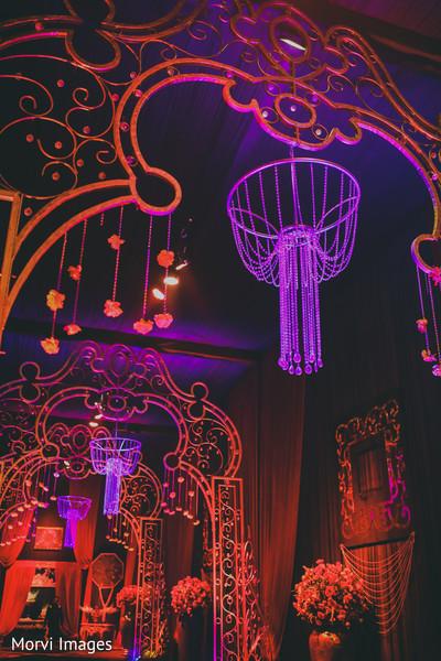 Enchanting Indian wedding reception lights decor.