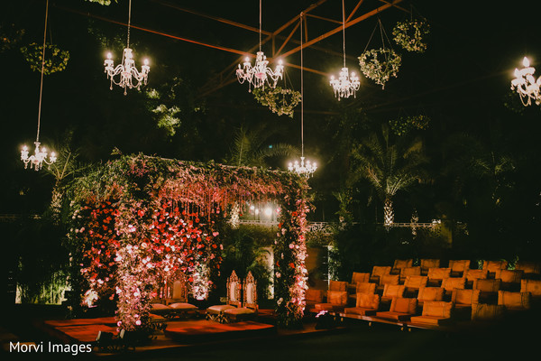mandap,indian wedding ceremony decor,flowers decor,chandeliers