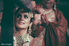 Indian bride at wedding ceremony ritual capture.