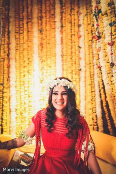 Indian bride finishing her mehndi session.