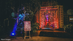 Stunning entrance for Indian wedding reception.