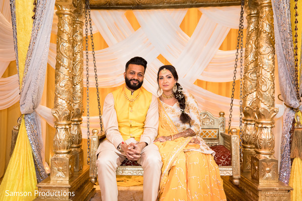 Lovely indian couple matching outfits