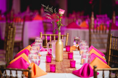 Dazzling Indian wedding table setup and decoration capture.