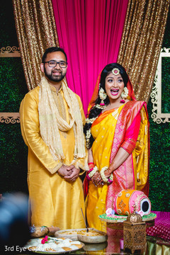 Indian bride and groom meet during the Sangeet ceremonies
