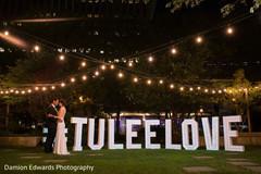 Beautiful shot of the Indian newlyweds outside