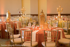 Table design and decor for the Indian wedding reception